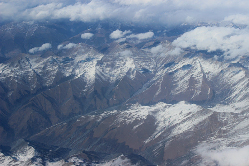 Snow-capped mountains in Tibet