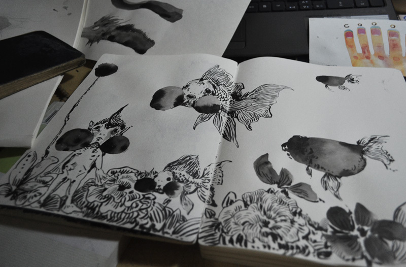 Chinese ink painting creation