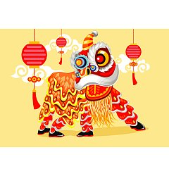 Permalink to Lion dance graphics EPS Free Download China Illustrations Vectors AI ESP #.3