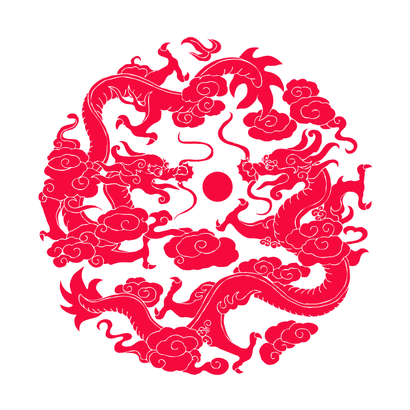 Two Loong are playing with a pearl- Chinese paper-cut art Illustrations Vectors ESP