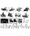 The ancient Chinese war horse and chariot vector material Illustrations Vectors AI ESP