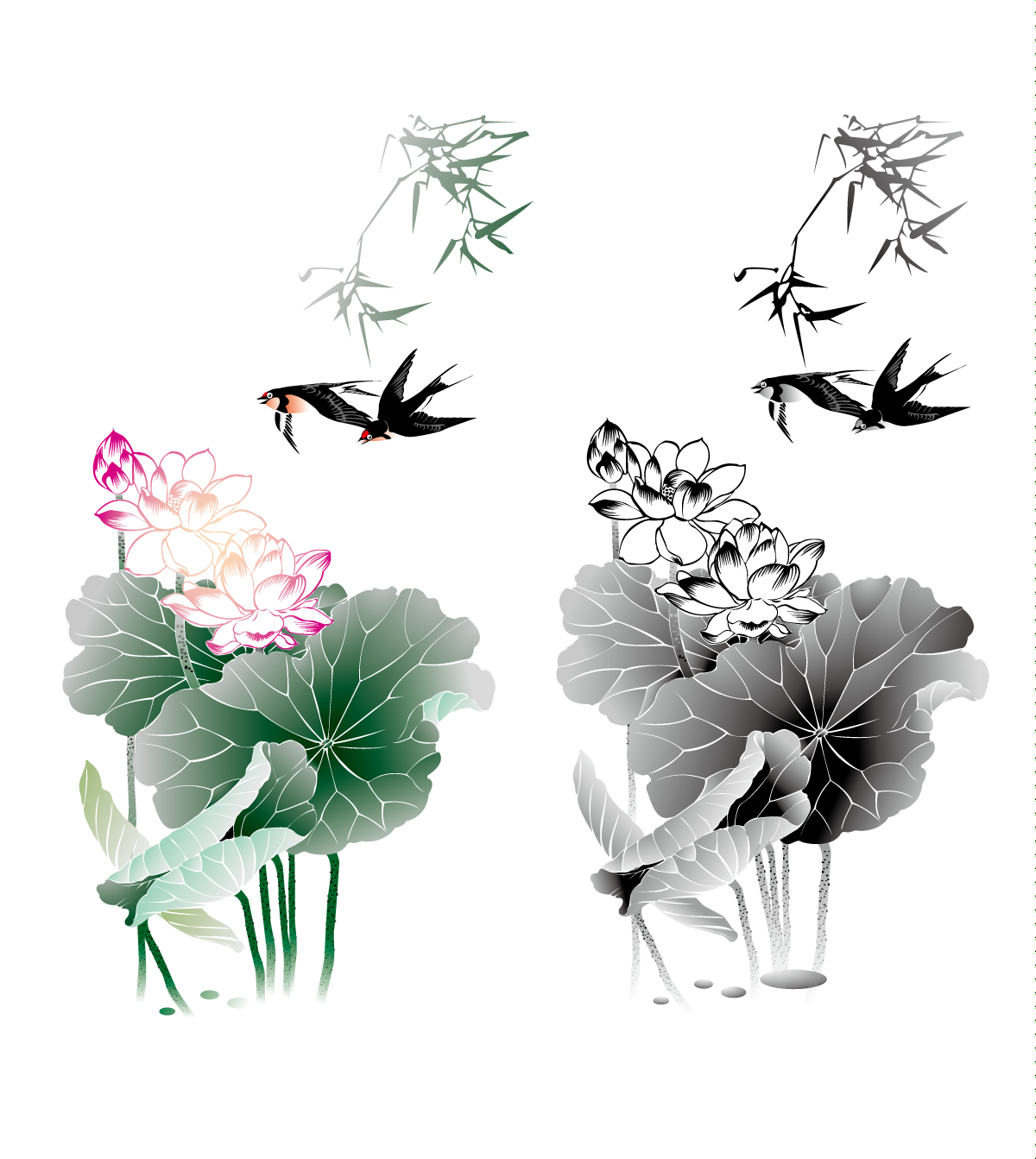 chinesefontdesign.com 2017 01 26 19 17 00 The Chinese ink painting lotus vector material   China Illustrations Vectors AI ESP