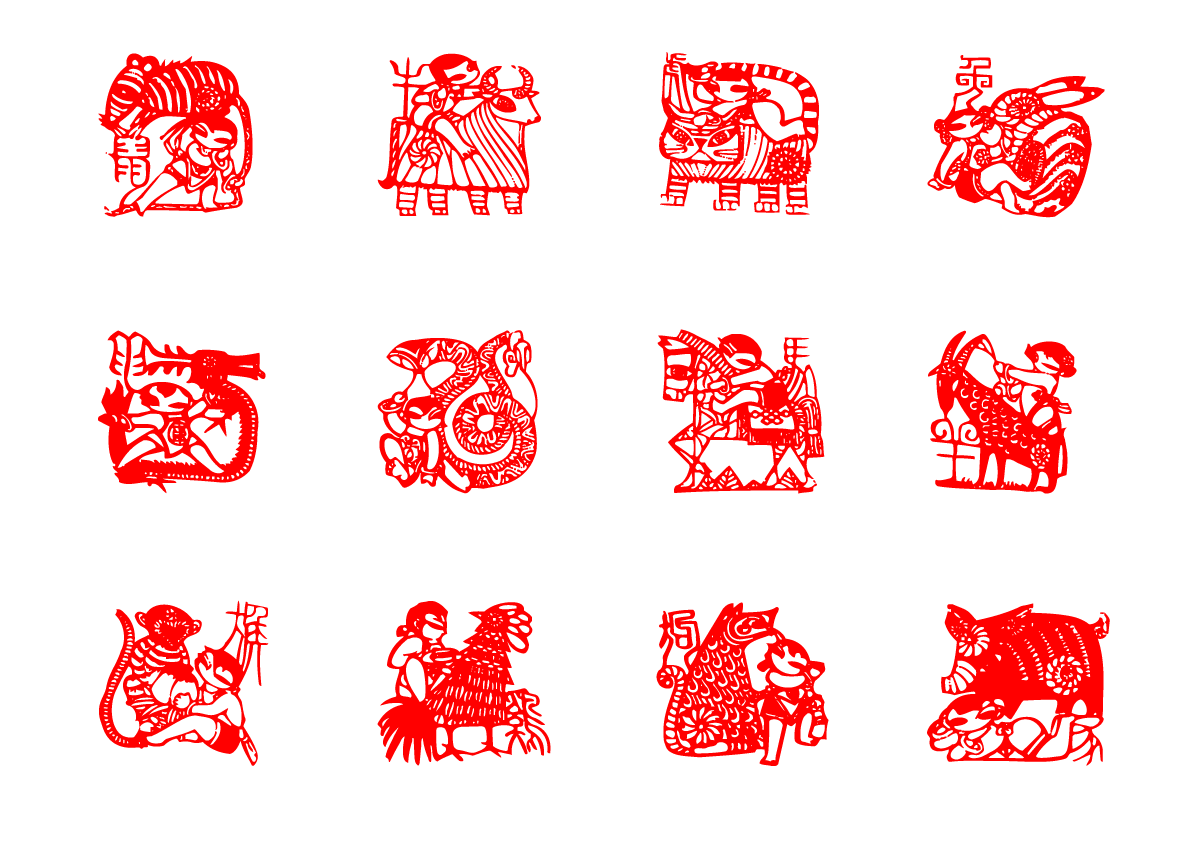 chinesefontdesign.com 2017 02 01 17 56 33 Chinese Zodiac Paper cut art vector graphics  China Illustrations Vectors AI ESP Chinese paper cut patterns