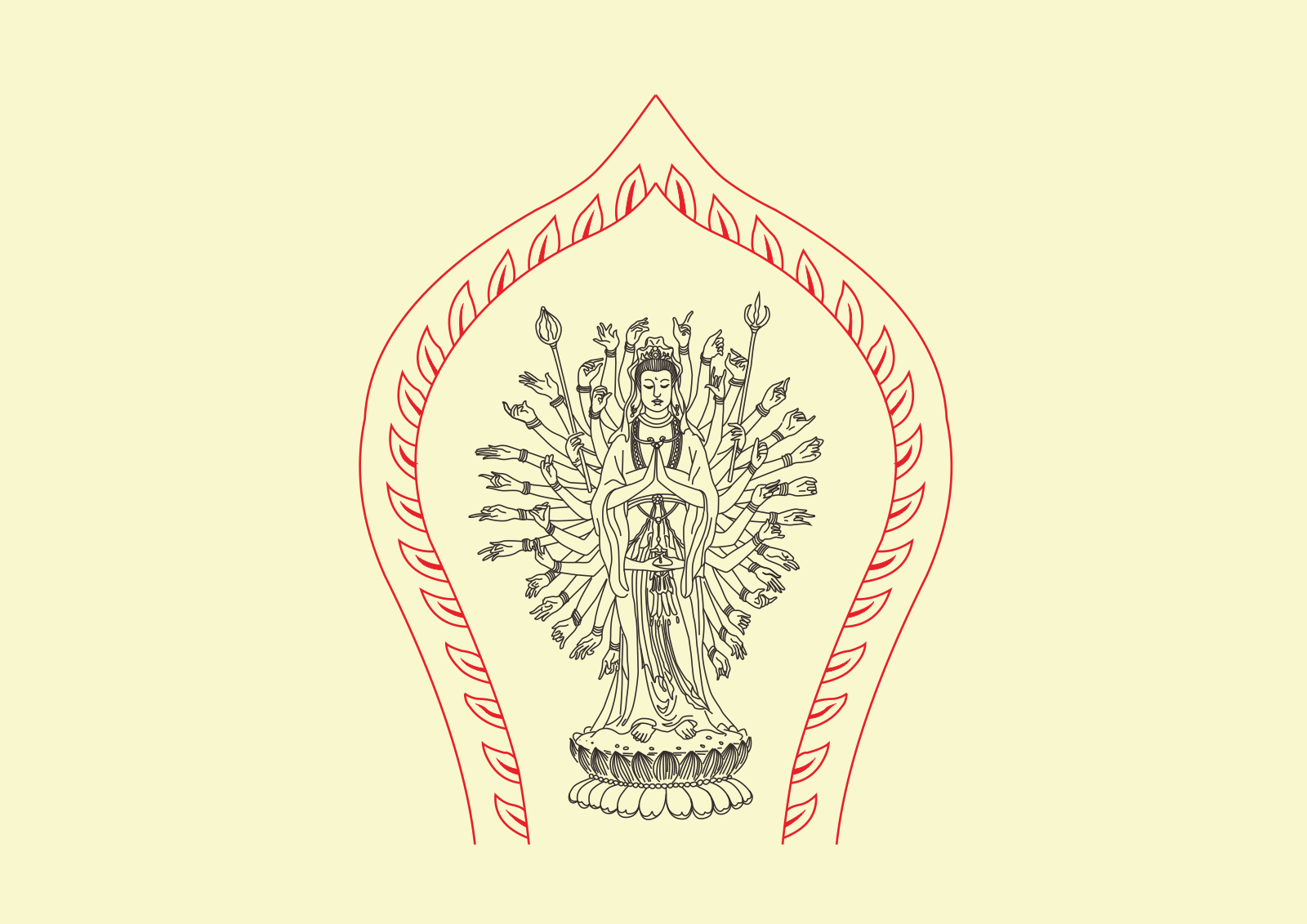 chinesefontdesign.com 2017 02 04 20 10 55 Guanyin bodhisattva(Thousand Hand Kwan yin) Chinese buddhist images Vectors CDR Free Download
