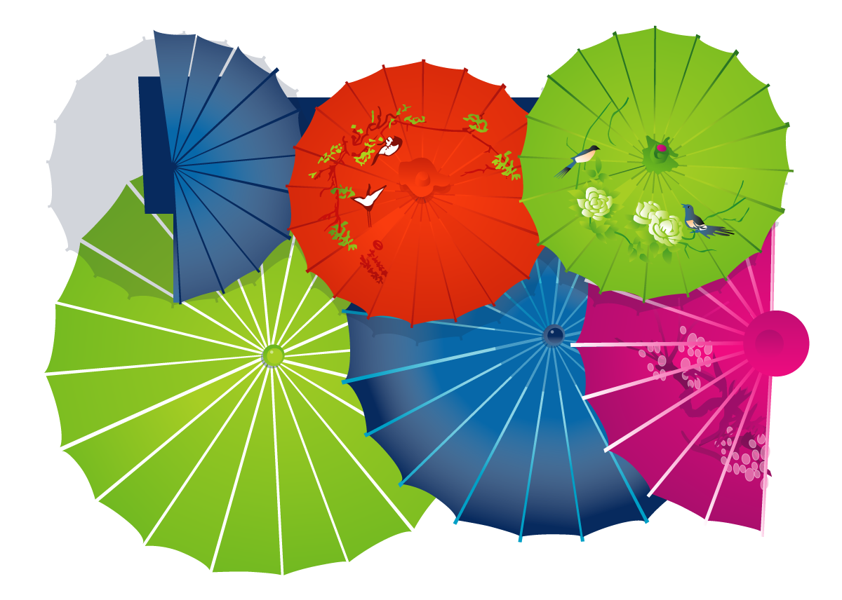 Traditional Chinese umbrella graphics - Illustrations Vectors AI Free Download