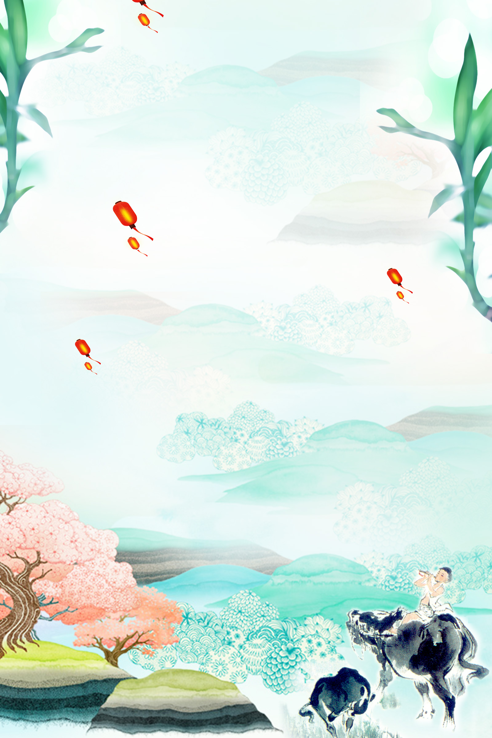 Chinese boy warm spring wind tomb-sweeping day poster background material PSD File Free Download