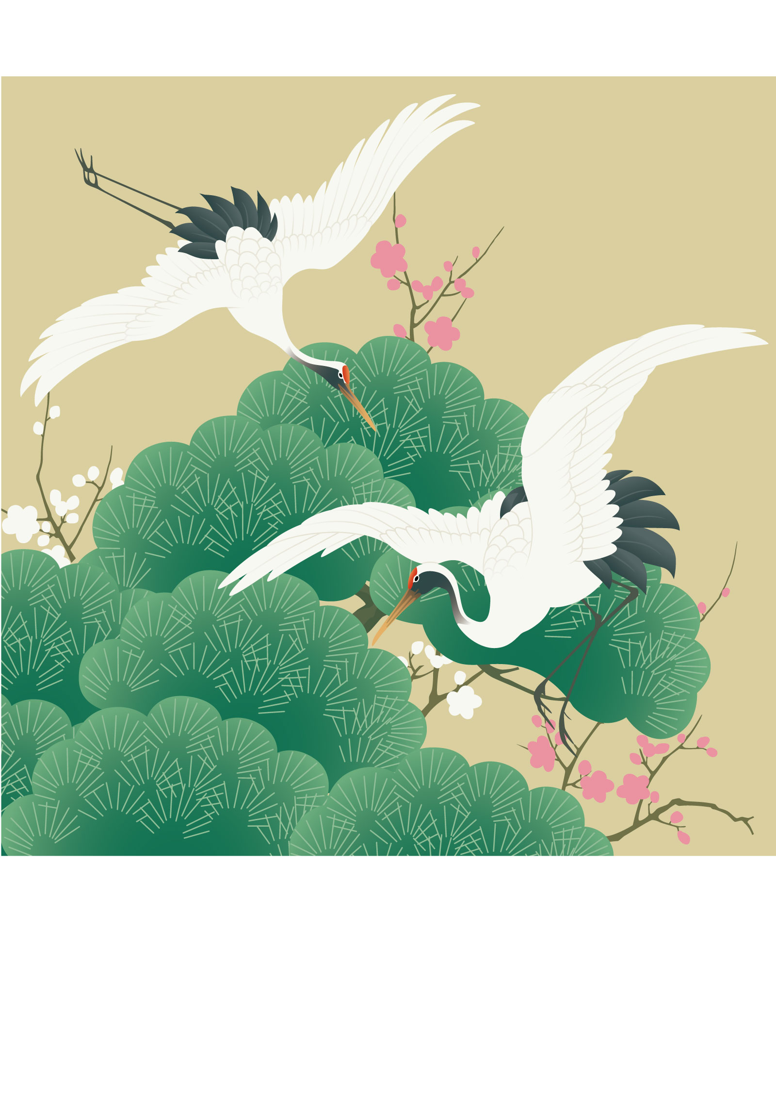 The traditional Chinese painting style cranes -Illustrations Vectors AI Free Download