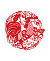 The design of the cock Chinese paper-cut art Illustrations Vectors AI ESP