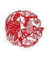 The design of the cock Chinese paper-cut art Illustrations Vectors AI ESP