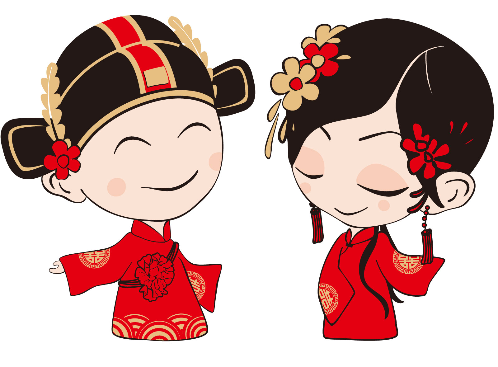 chinesefontdesign.com 2017 03 08 19 00 31 Beautiful and lovely bride and groom Illustrations Vectors AI ESP Free Downlaod