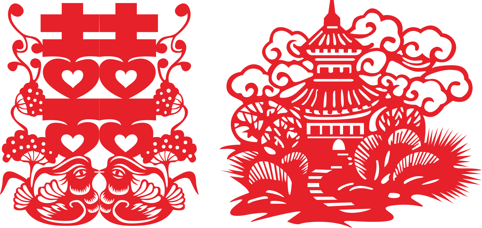 Beautiful Chinese traditional wedding paper-cutting art design -  Vectors Free Download #.1