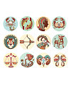 Printed hand-painted decorative pattern design of the zodiac China Illustrations Vectors AI ESP