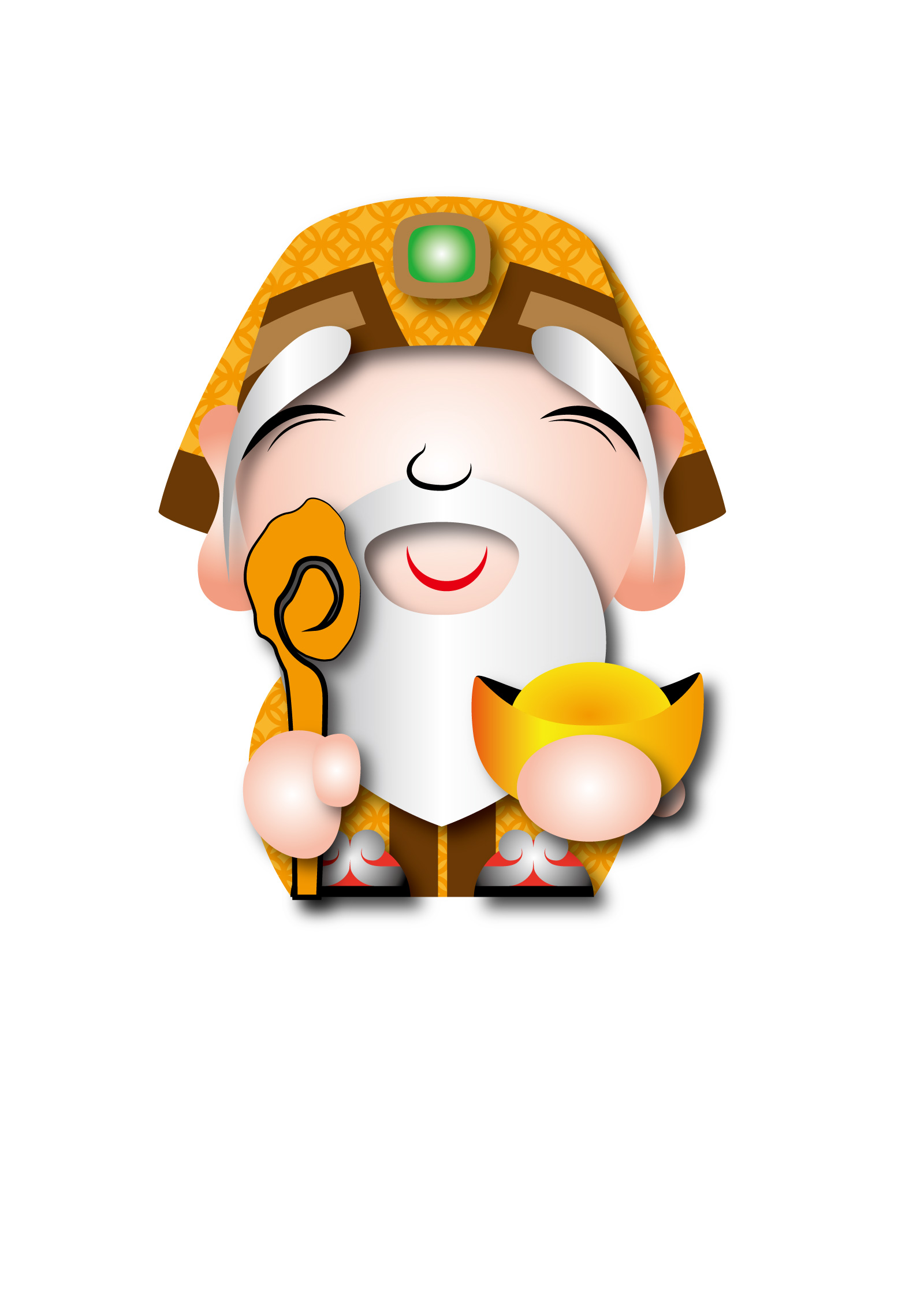 chinesefontdesign.com 2017 03 09 10 03 21 God of fortune vector cartoon characters Illustrations Vectors AI ESP Free Download
