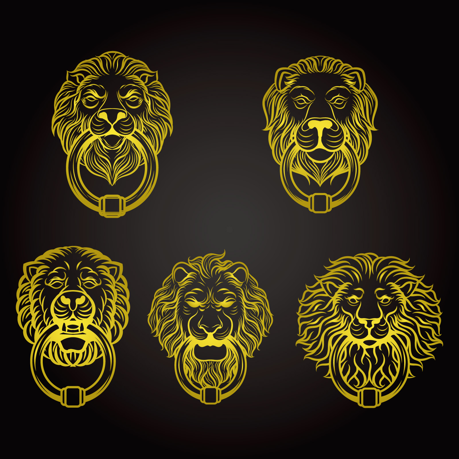 Yellow lion shaped knocker vector design  Illustrations Vectors AI ESP Free Dowload