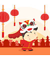 Lovely boy lion dance cartoon image – China Illustrations Vectors AI ESP Free Download
