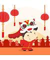Lovely boy lion dance cartoon image – China Illustrations Vectors AI ESP Free Download