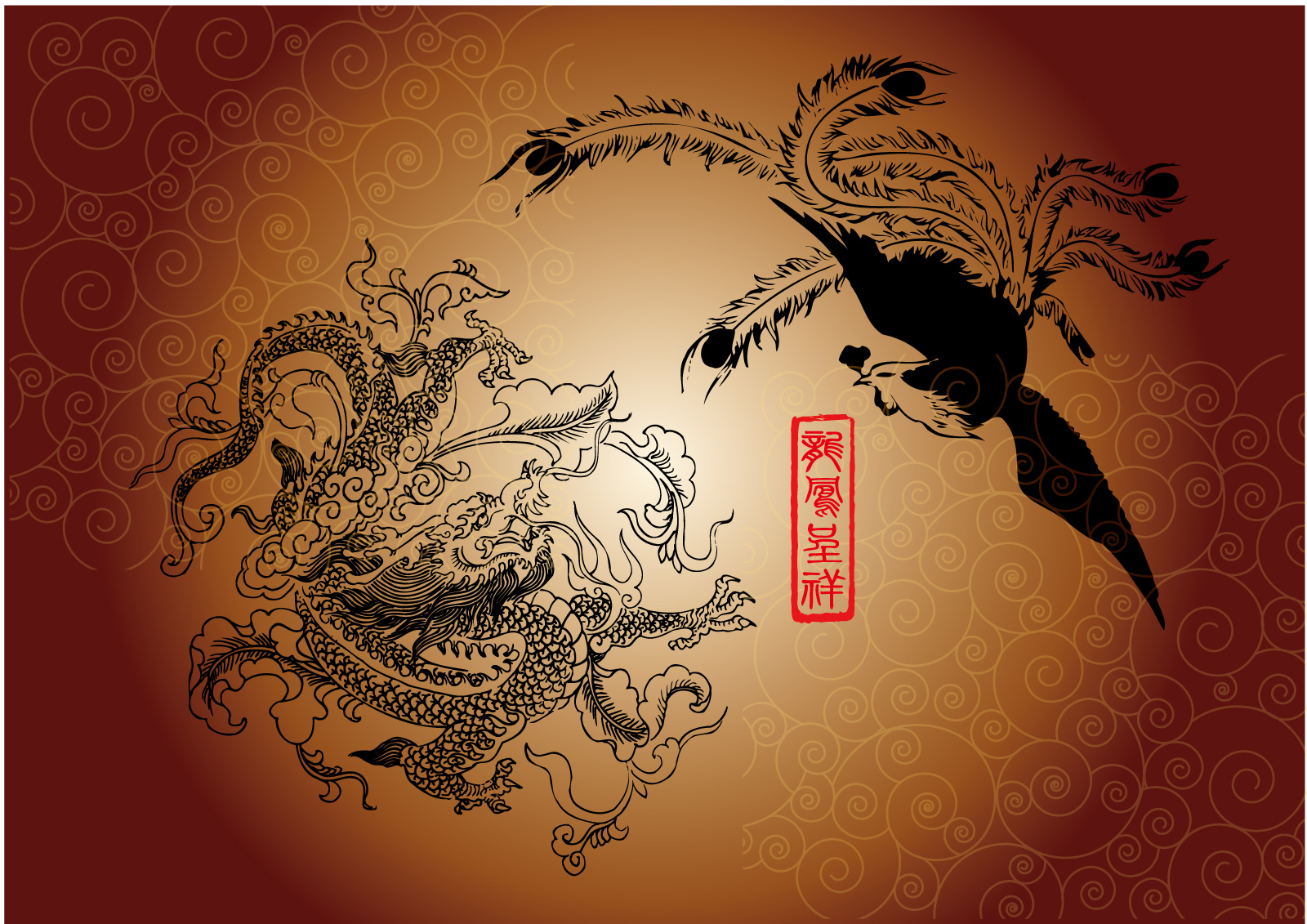 chinesefontdesign.com 2017 03 14 20 36 25 Classic loong and phoenix vector drawing pictures   China Illustrations Vectors AI ESP Phoenix Vectors phoenix ai loong vectors loong ai