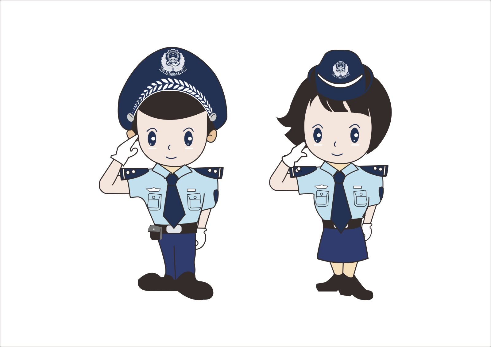 chinesefontdesign.com 2017 03 19 09 05 09 Cute cartoon modelling of the Chinese police CorelDRAW Vectors CDR Free Download Chinese police cdr
