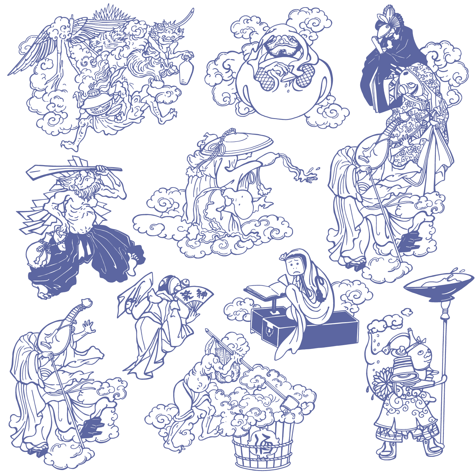 The character of Chinese mythology hand-drawn illustration vector diagram - Illustrations Vectors ESP Free Download