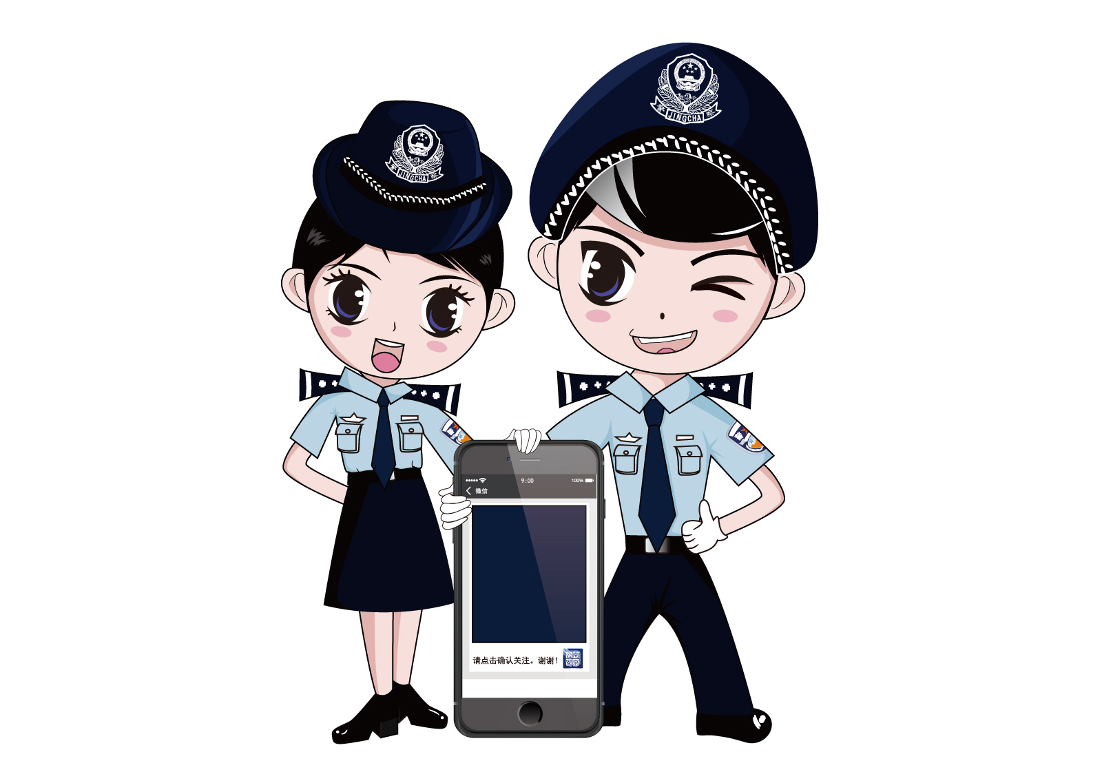chinesefontdesign.com 2017 03 20 16 29 31 Cute Chinese police cartoon style Illustrations Vectors AI ESP Chinese police vectors Chinese police cdr Chinese police ai