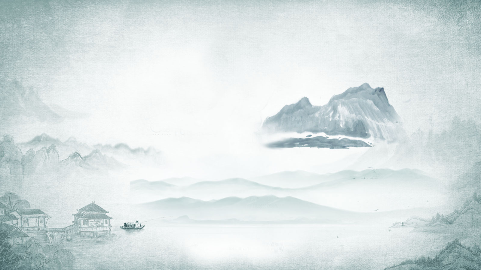 Chinese style ink painting background PSD picture Free Download