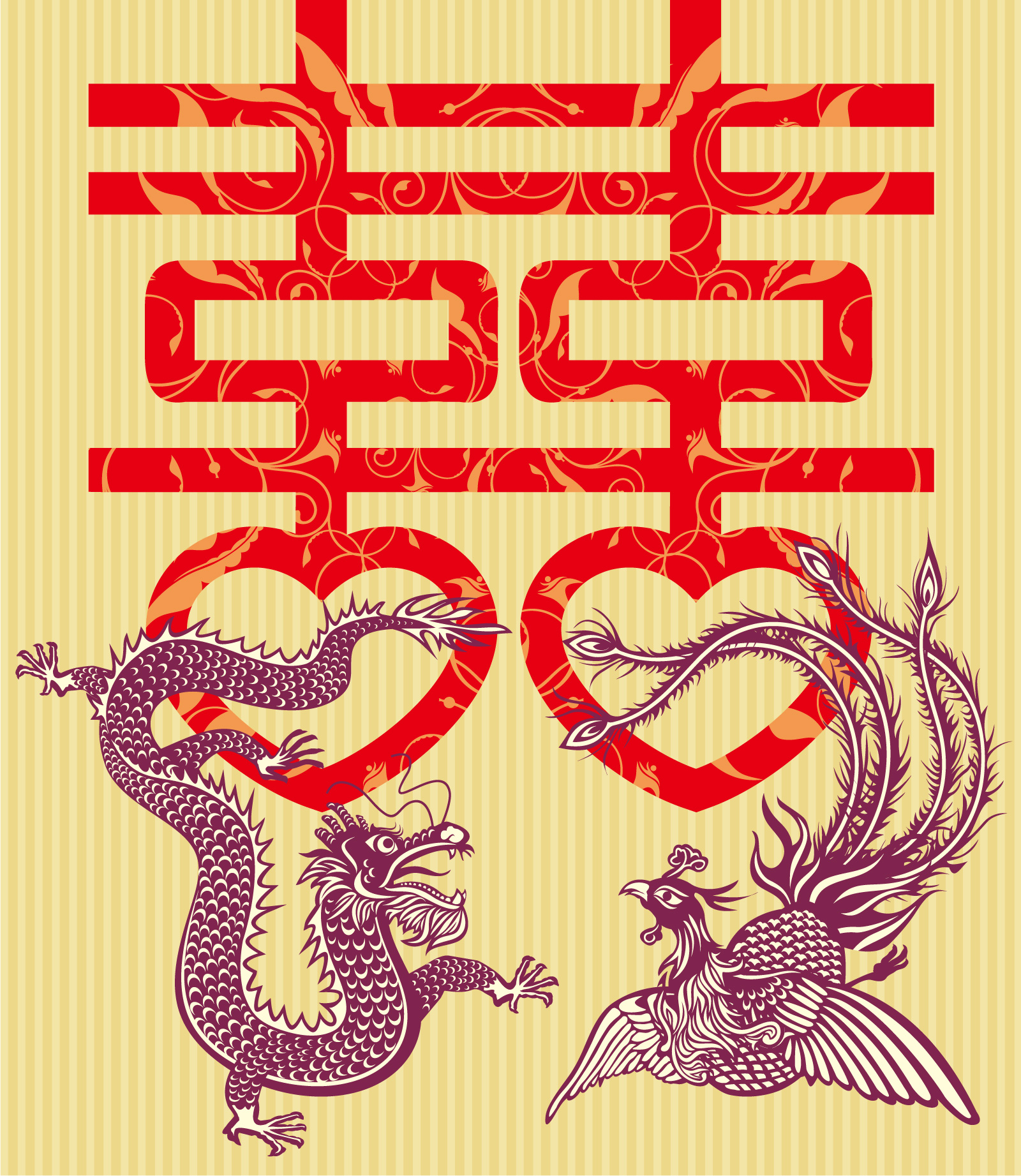Chinese traditional customs dragon and Phoenix wedding decoration pattern -  China Illustrations Vectors AI ESP Free Download