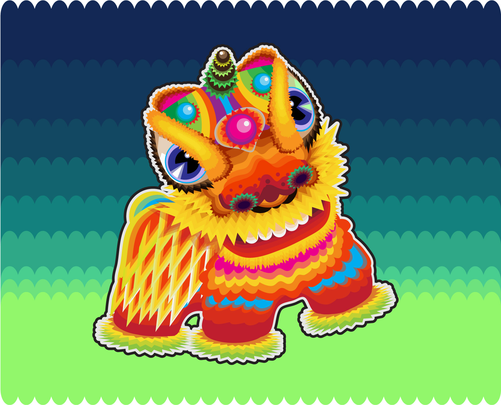 chinesefontdesign.com 2017 03 28 09 13 05 Chinese traditional lion dance vector graphics    China Illustrations Vectors AI ESP Free Download Lion dance Vectors Lion dance ai