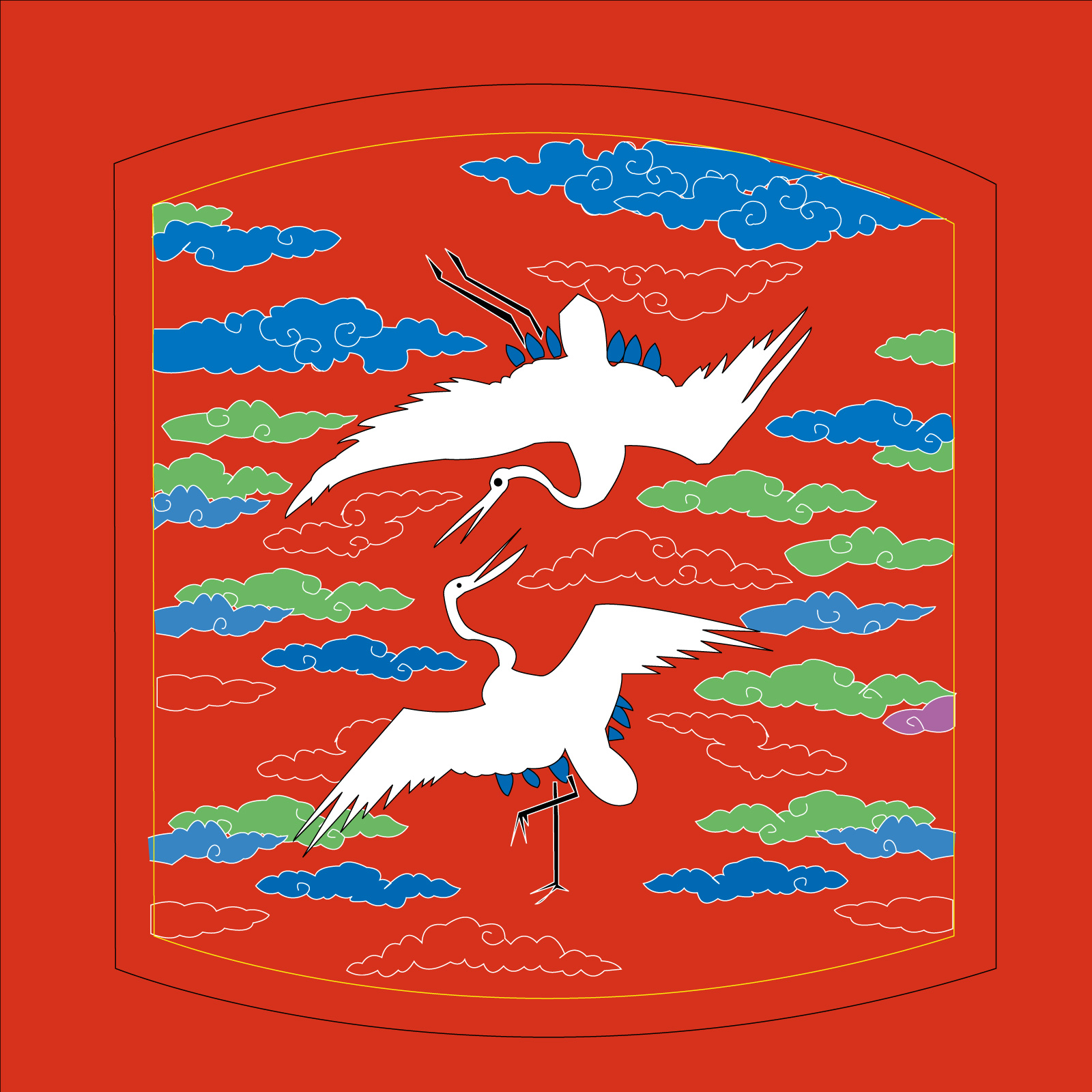Chinese traditional style auspicious crane modeling vector material - Illustrations Vectors AI ESP