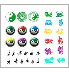 Permalink to Chinese tai chi gossip pattern and zodiac pattern Illustrations Vectors CDR Free Download