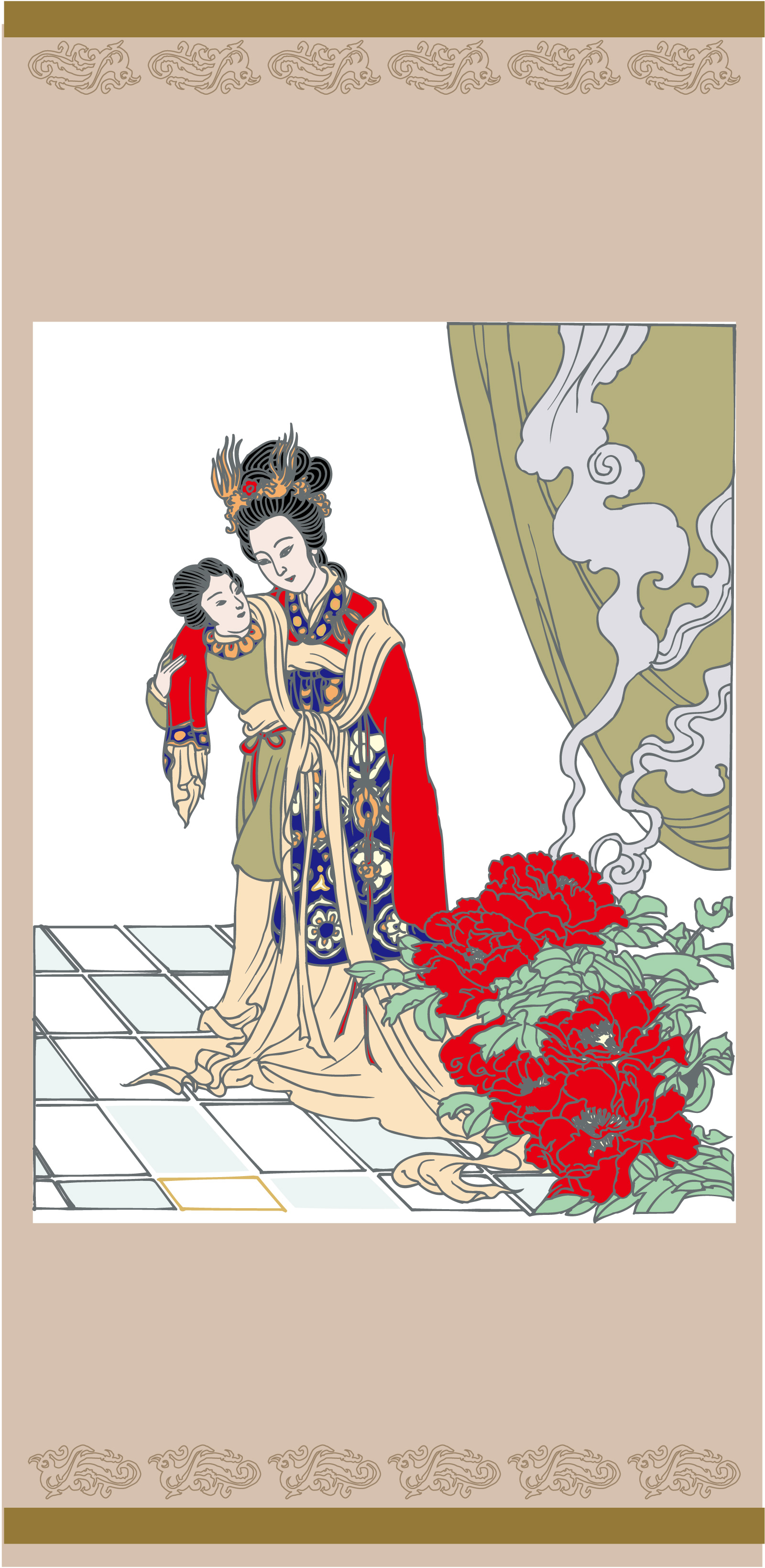 Graceful Chinese ancient ladies image - China Illustrations Vectors AI ESP Free Download #.2