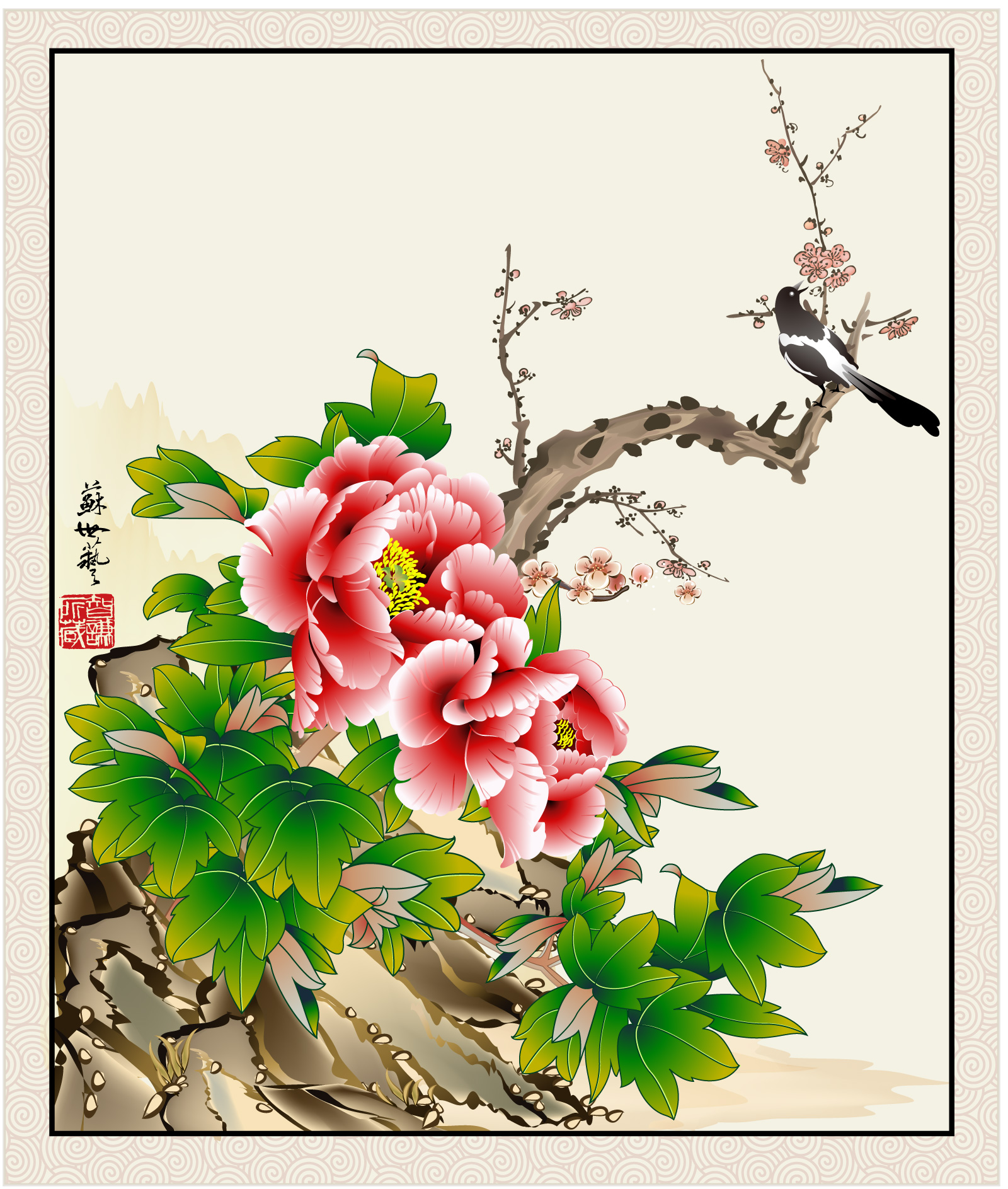 Chinese style flower and bird brushwork vector material -  China Illustrations Vectors AI ESP