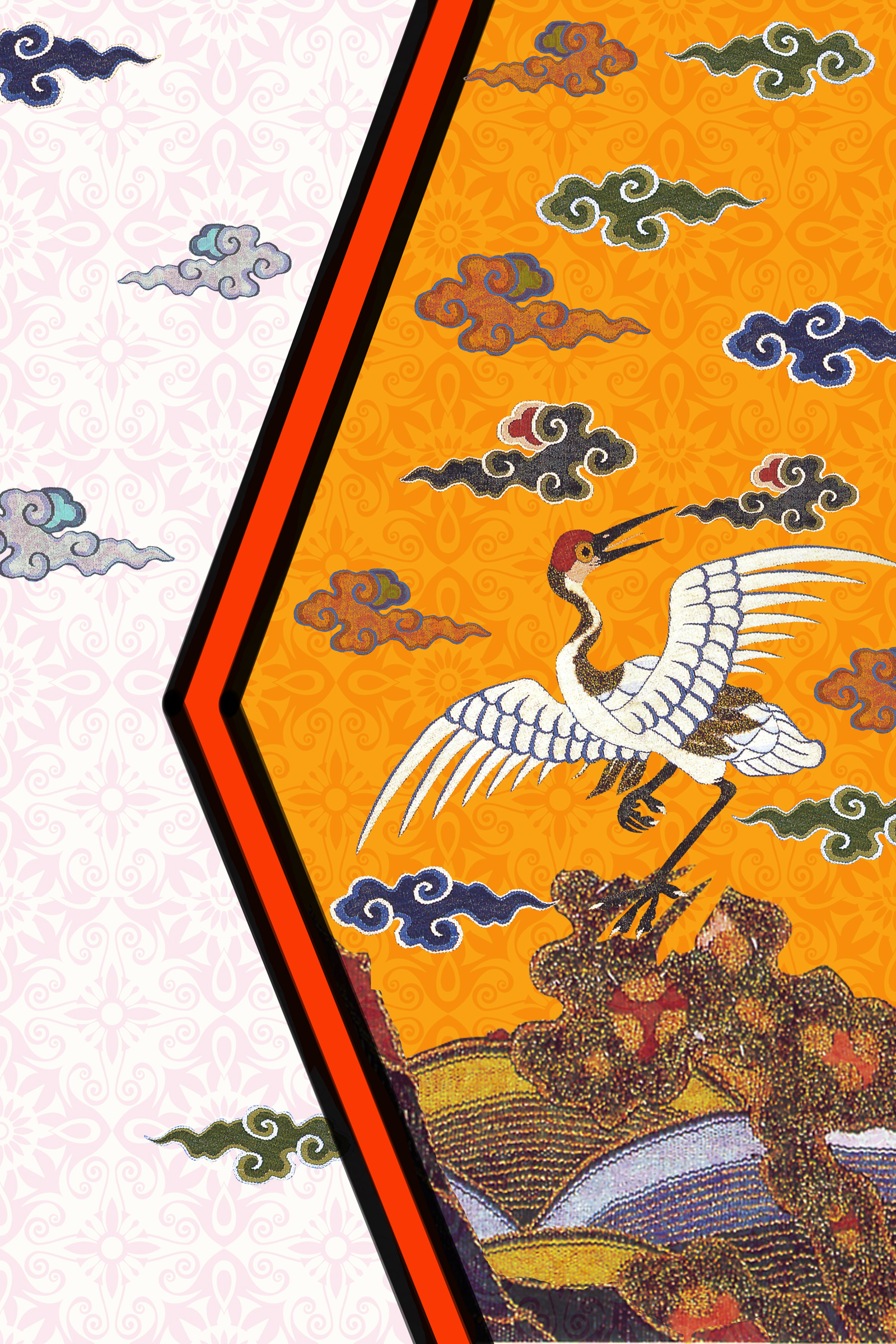 Chinese traditional embroidery style crane poster background PSD File Free Download