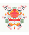 Lanterns and cherry blossoms China Illustrations Vectors AI ESP