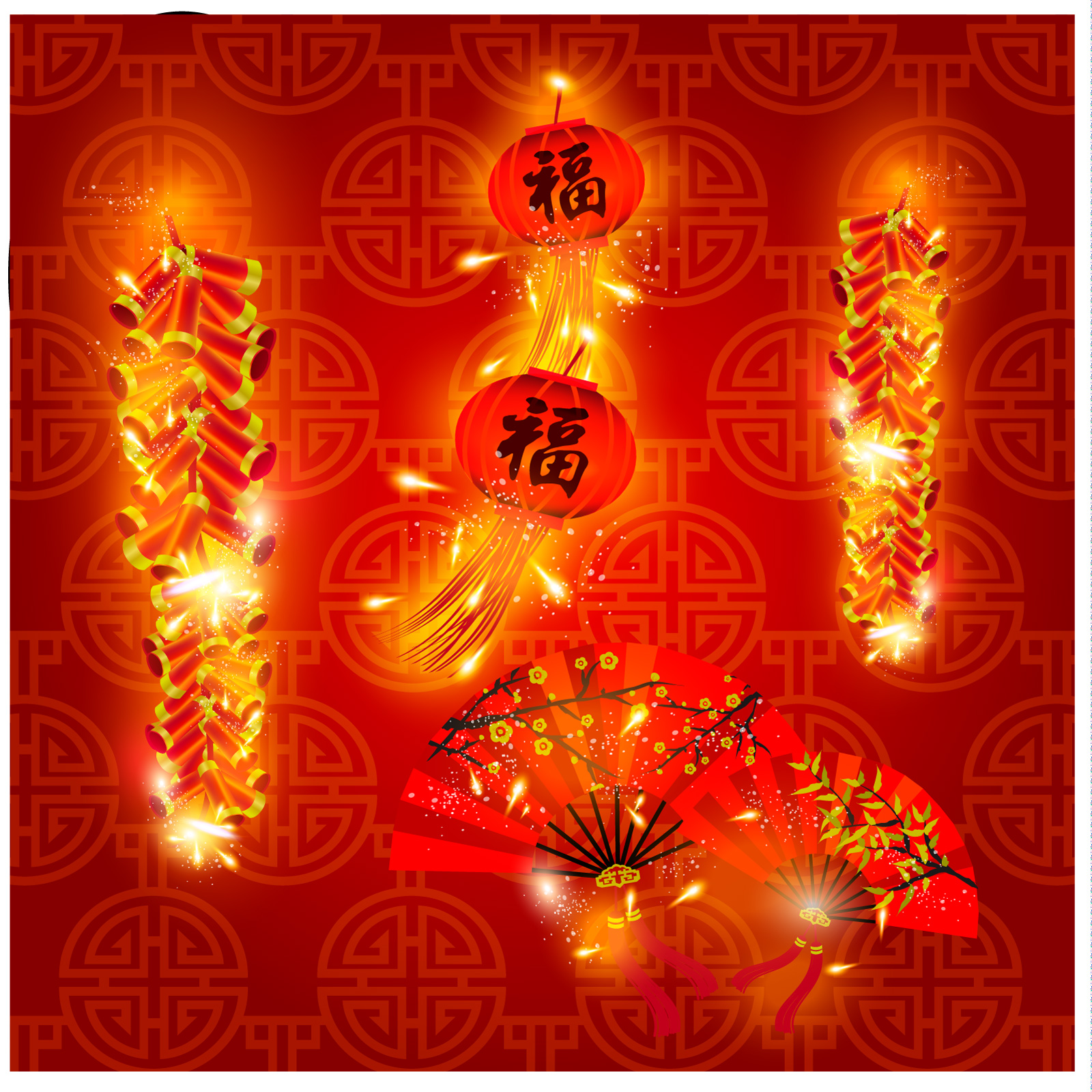 chinesefontdesign.com 2017 04 11 18 47 49 Chinese red   holiday festival decorations   firecrackers   fans China Illustrations Vectors AI ESP firecrackers ai firecrackers Chinese fans ai Chinese fans