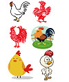 Cock, Chicken Illustrations Vectors AI ESP Free Download