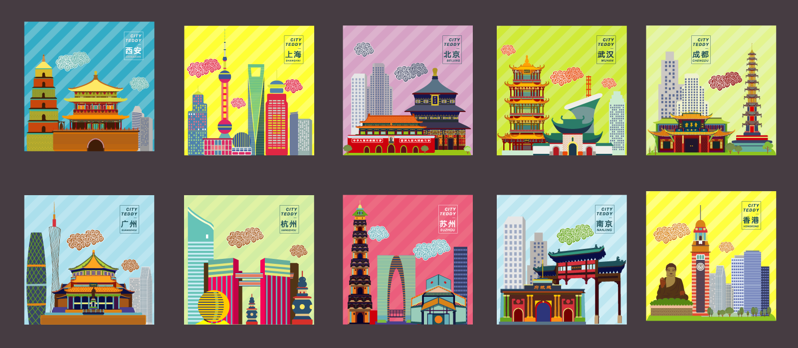 Flat Design of Chinese Cities Illustrations Vectors AI ESP Free Download