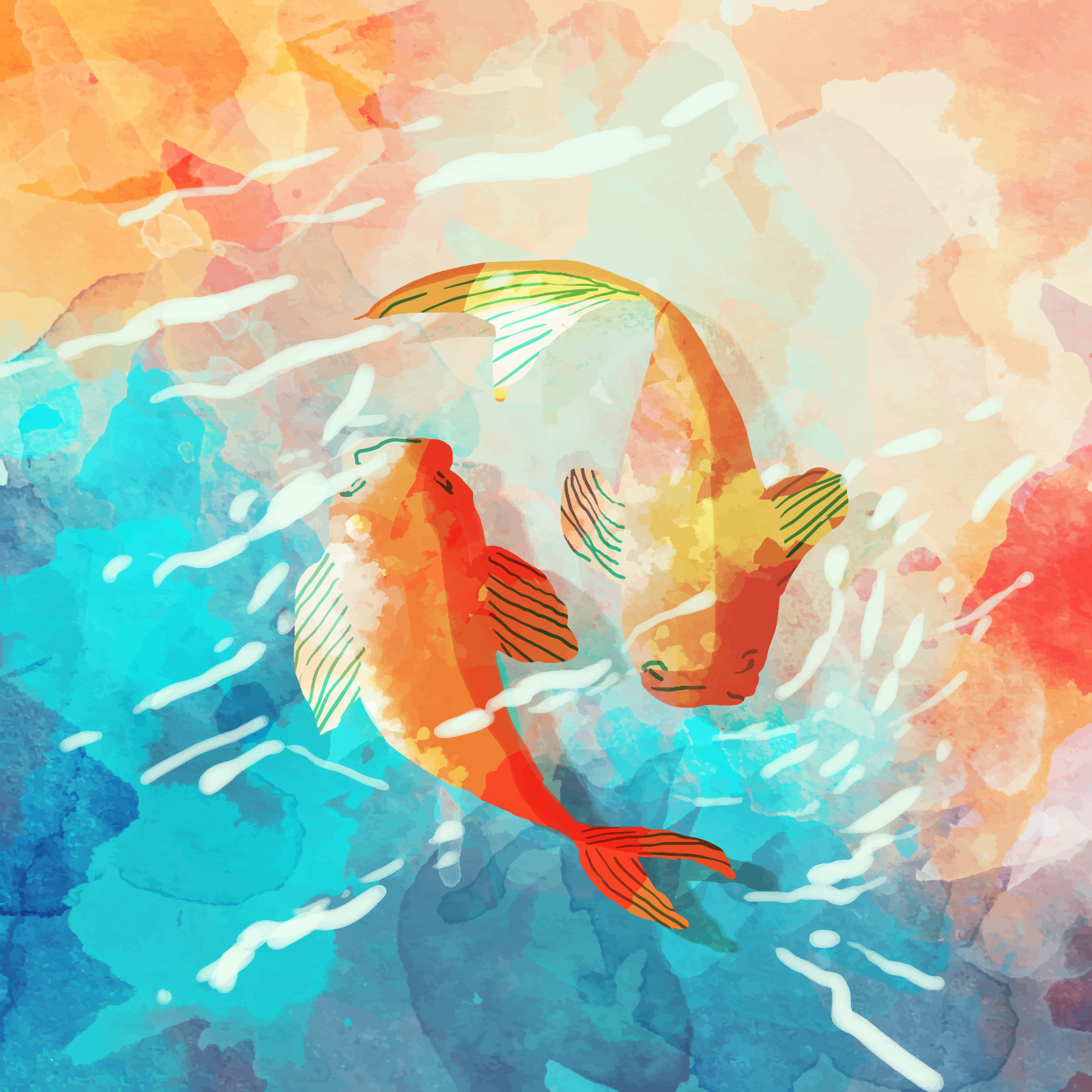 watercolor Fish background vector picture Illustrations Vectors AI ESP