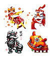 Hand painted Chinese lion dance PNG Download
