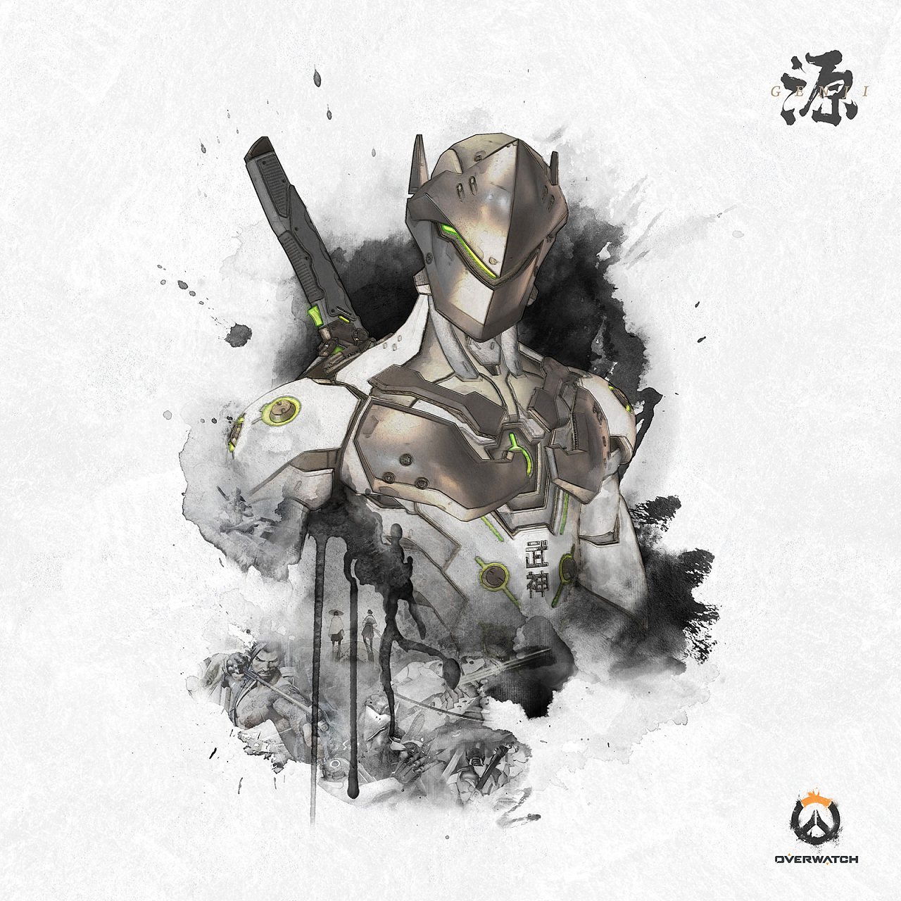 25P Overwatch: double Loong  Chinese brush calligraphy font