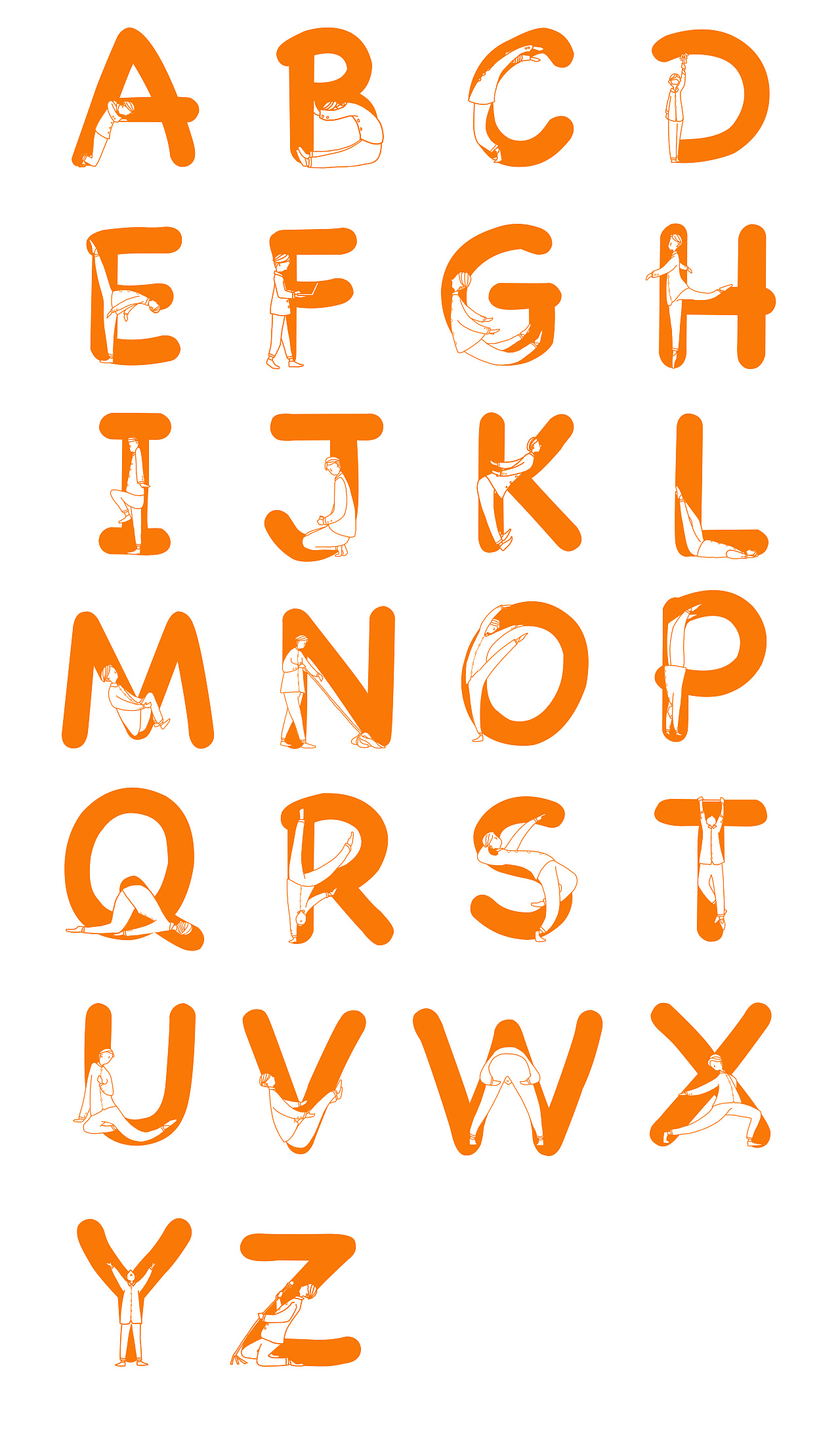 A group of fonts that combine the human body with English letters were designed on a whim.