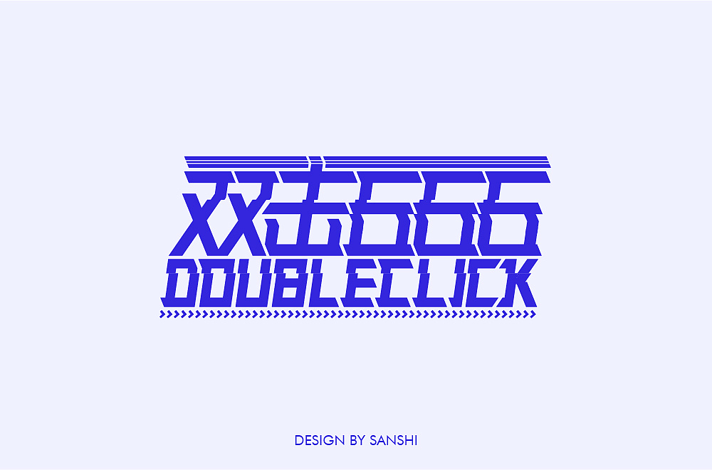 Font designs with different styles and backgrounds developed with the two characters of Double-click 666