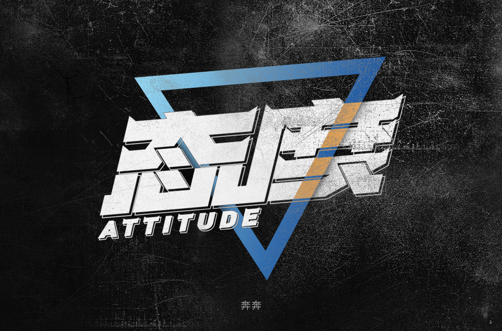 Creative font design with different styles and backgrounds with attitude as the theme