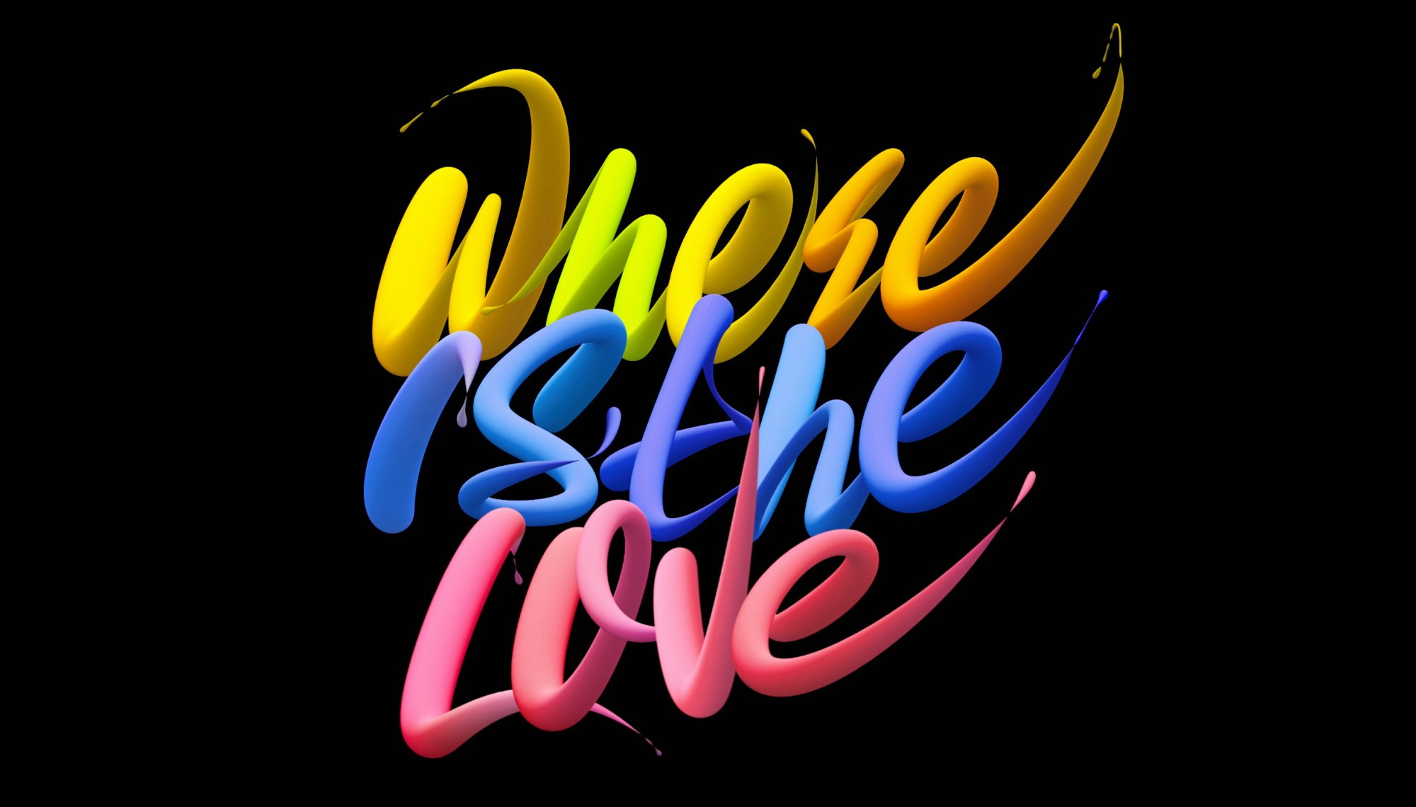 Creative font design with changeable colors