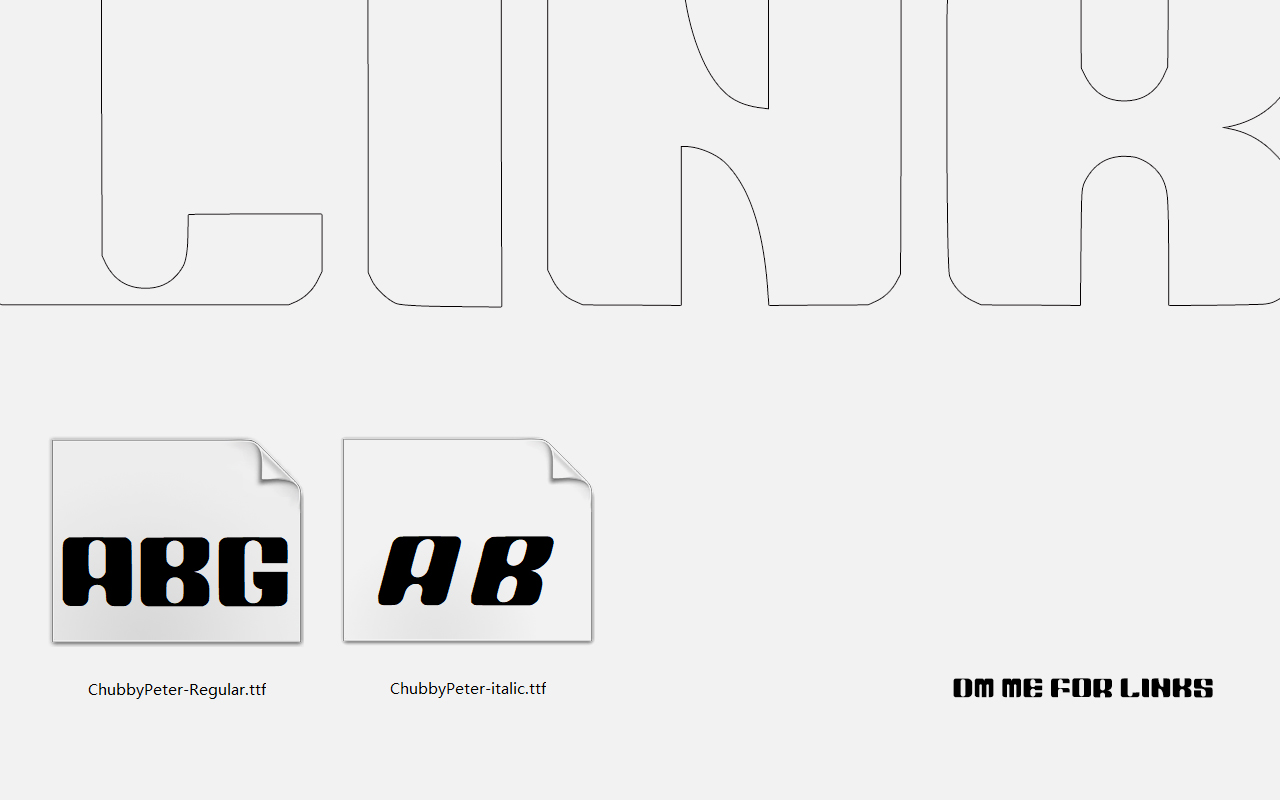 Chubby Peter English font design suitable for title