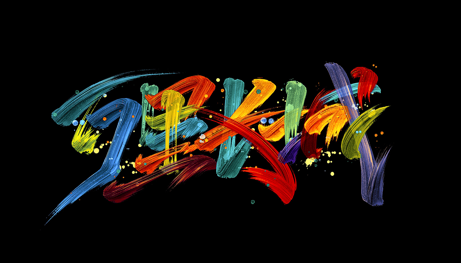Colorful writing brush font design