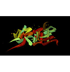 Permalink to Colorful writing brush font design